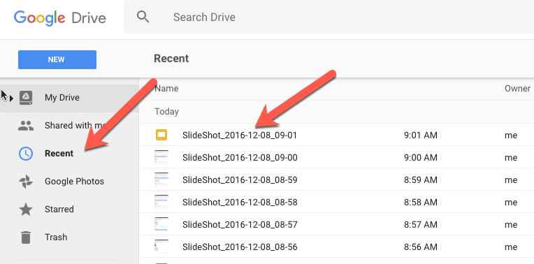 SlideShot under Recent in Google Drive