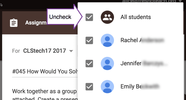 uncheck all students