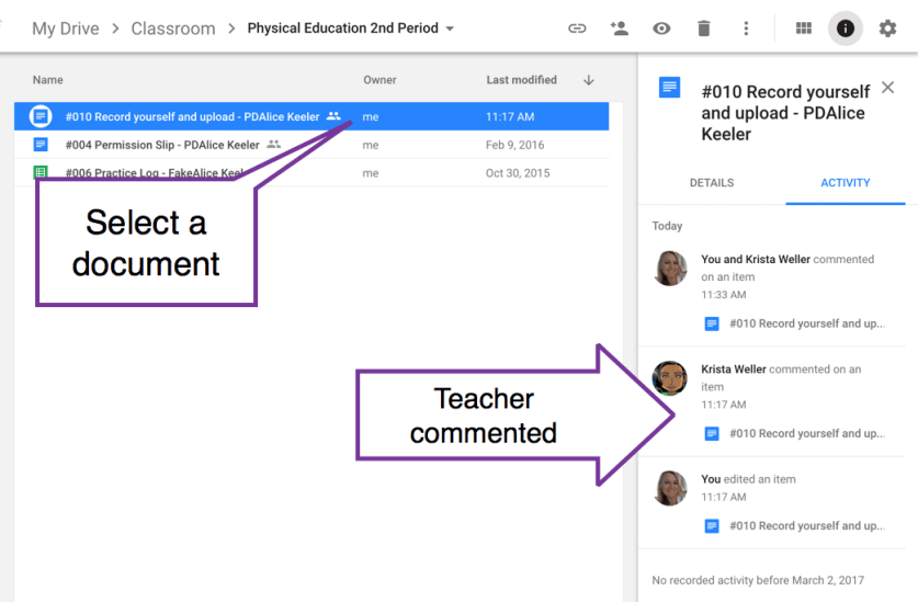 teacher commented on an individual file in Google Drive