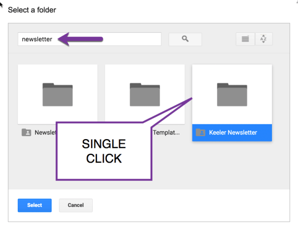 Single Click on the newsletter folder
