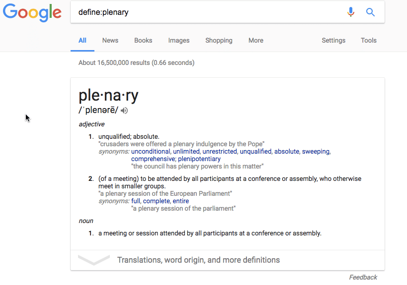 Define Plenary in Google search