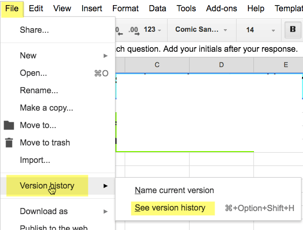 See Version History Google Apps