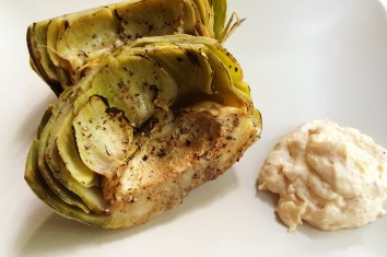 Grilled Artichokes with Roasted Garlic and Bacon Aioli