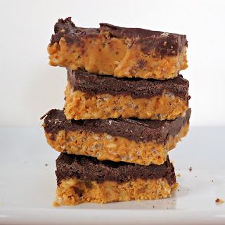 no-bake chocolate peanut butter bars with rice krispies