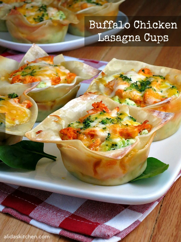 Buffalo Chicken Lasagna Cups   alidaskitchen.com