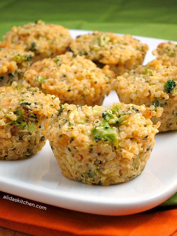 Broccoli Cheddar Quinoa Bites #WeekdaySupper - Alida's Kitchen