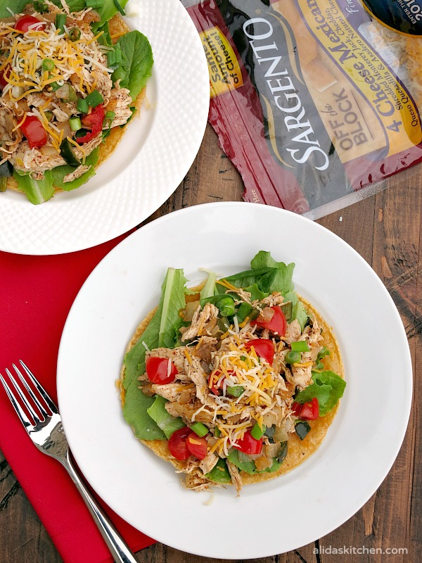 Poblano Chicken Tostada Salad - Alida's Kitchen