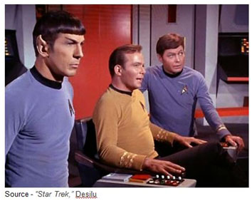 """""""Space, the final frontier. These are the voyages of the starship Enterprise. Its 5-year mission: to explore strange new worlds, to seek out new life and new civilizations, to boldly go where no man has gone before."""" Capt. James T. Kirk, """"Star Trek,"""" Desilu, 1966-69"""