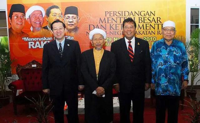 (From left) Lim Guan Eng (Penang), Nik Aziz Nik Mat (Kelantan), Khalid Ibrahim (Selangor) and Azizan Abdul Razak (Kedah)