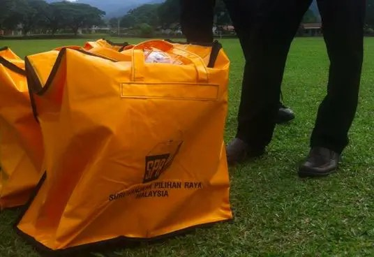 Ballot bags dropped from a helicopter