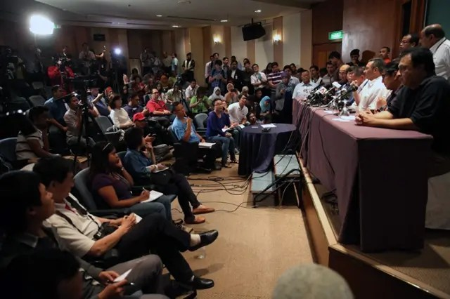 A media conference on the MH740 in progress - Photograph: themalaymailonline.com
