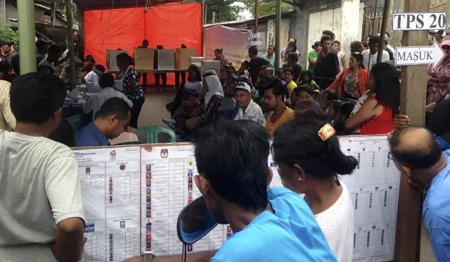 A polling station near  Pasar Inpres, Kota Kupang, Nusa Tenggara Timur -. Photograph: Azmil Tayeb