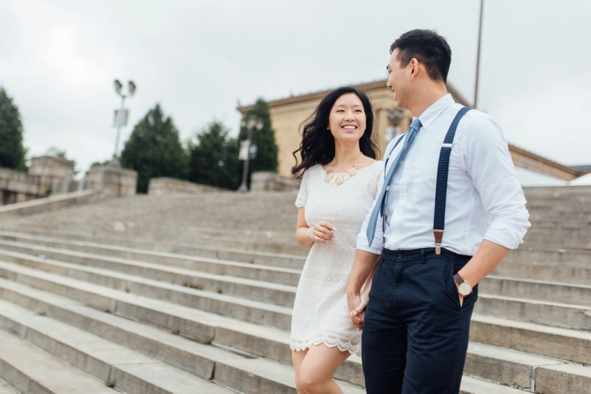 9 - Moon + Nina - Philadelphia Art Museum Engagement Session - Alison Dunn Photography