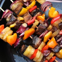 Grilling Time! Portobello Pineapple Shish Kebabs.