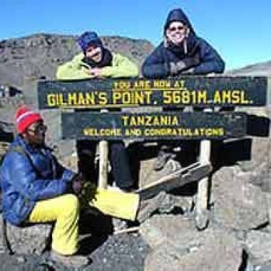 Malachy Harty and Niamh O Riordan at Gilman's Point on Mount Kilimanjaro, Tanzania