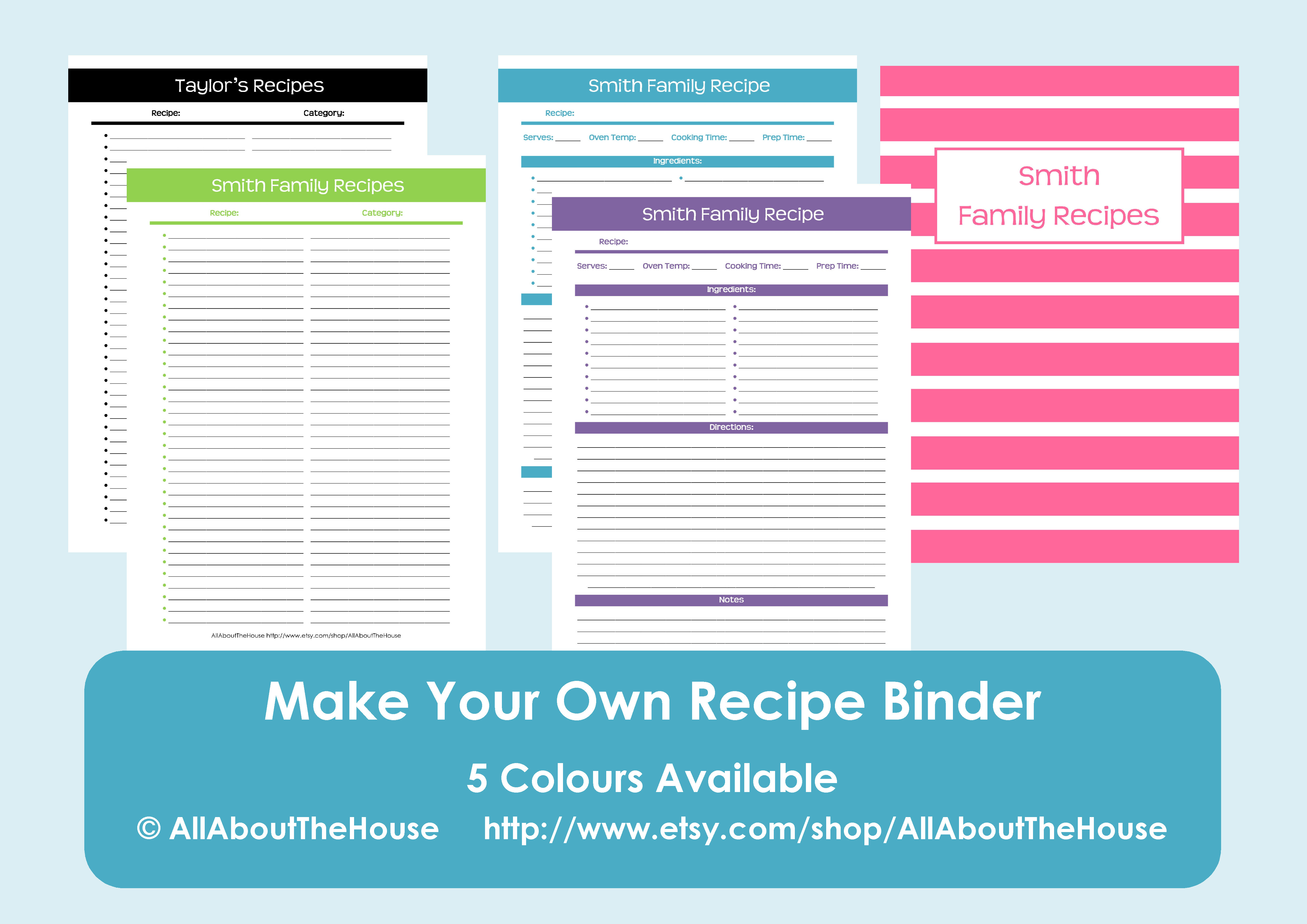 Make your own personalised printable recipe binder for Create your own cookbook template