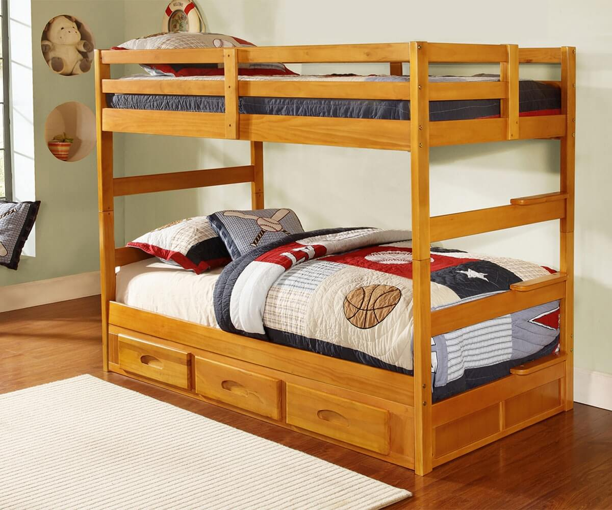 Cozy Honey Twin Bunk Bed Honey Twin Bunk Bed All American Furniture Buy Less Open To Bunk Bed Shelf Uk Bunk Bed Shelf Attachment houzz 01 Bunk Bed Shelf