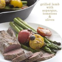 Grilled Lamb with Asparagus, Olives, & Tomatoes - Terra's Kitchen