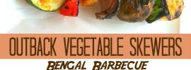 Get the Disneyland Bengal Barbecue Veggie Skewers recipe at AllDayMom.com! This is a perfect copycat of the Disneyland Bengal Barbecue recipe!