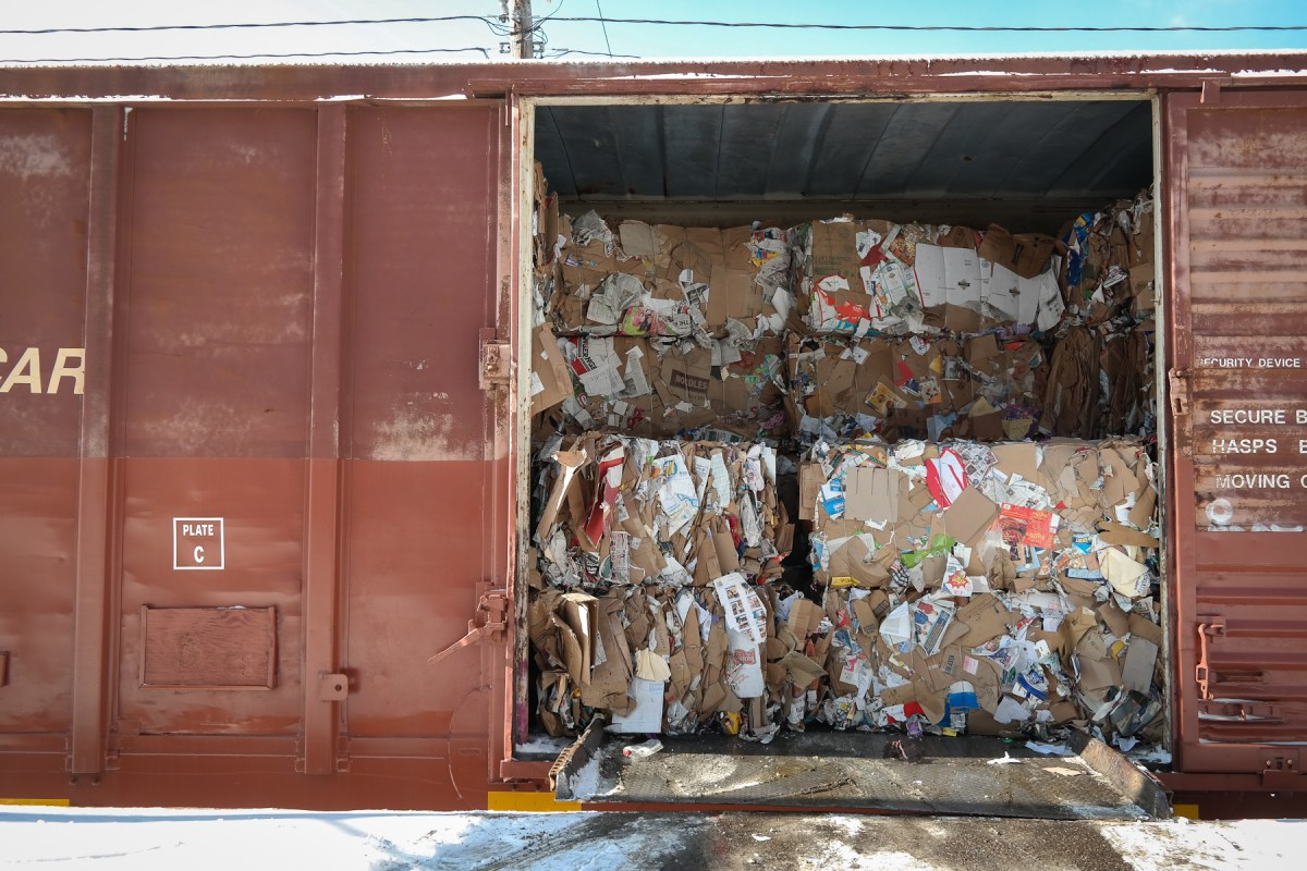 Yes, your recycling does get sorted. Bails of materials are loaded directly onto trains at this recycling sorting facility, which lies right on rail lines in Pittsburgh's Hazelwood neighborhood. These bails will end up at mills all over the country, where they will be transformed back into usable materials. Photo: Lou Blouin