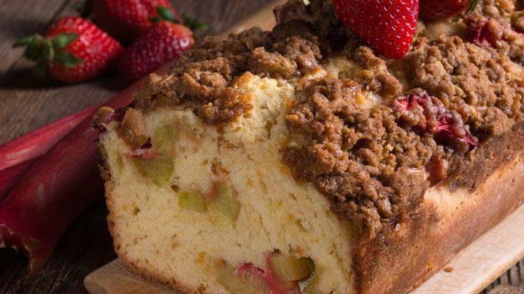 Apple Rhubarb Cake with Strawberries