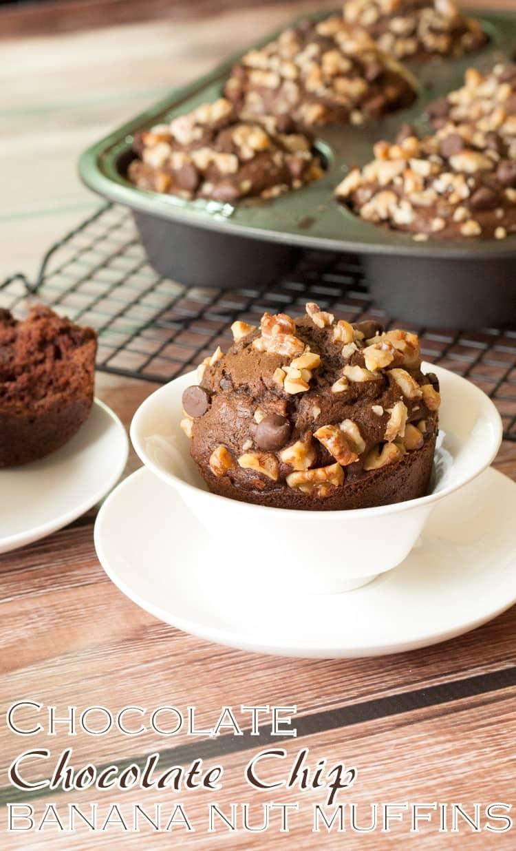 Chocolate chocolate chip banana nut muffins