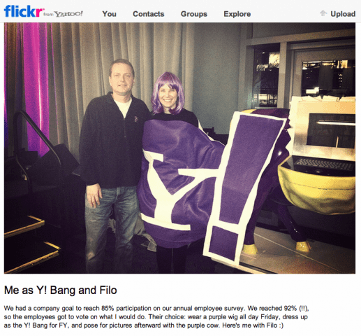 Marissa Mayer dressed as purple banger