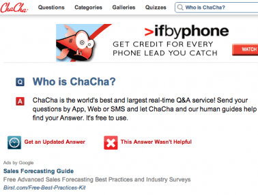 ChaCha answers questions amid a heckuva lot of ads.