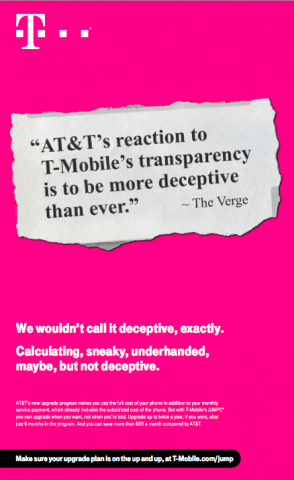 T-Mobile ad aims at AT&T Next upgrade program
