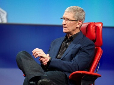 Apple CEO Tim Cook shows off his Nike FuelBand at D11
