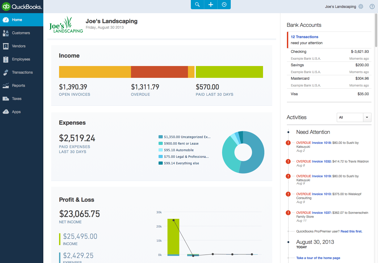 Intuit Overhauls QuickBooks Online as Competition for Small Businesses    Quickbooks 2014 Interface