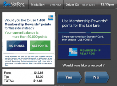 American Express taxi membership rewards points