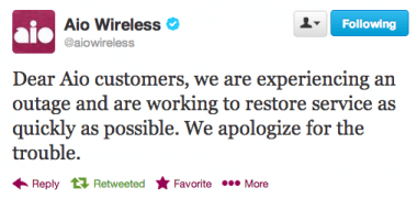Aio Wireless outage tweet