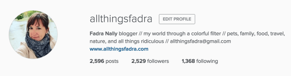 Instagram profile - All Things Fadra