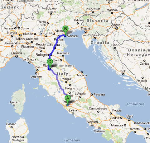 map rome to venice