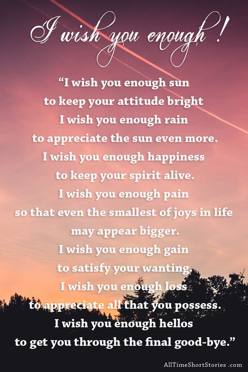 Image result for story - I wish you enough