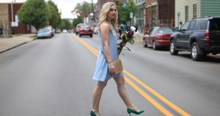 Periwinkle Shift Dress Styled by Fashion Blogger Allyn Lewis, Summer Style