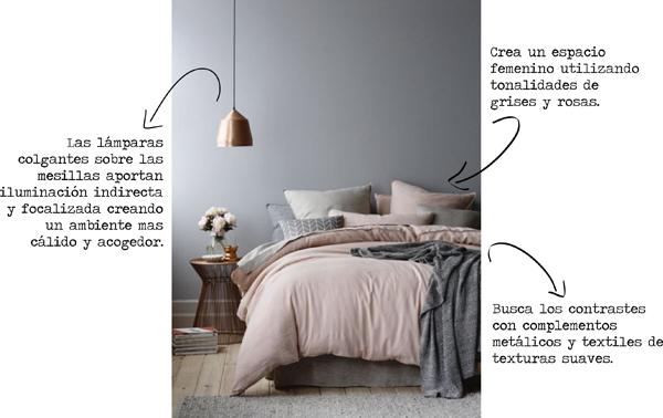 Dormitorio gris y rosa 1
