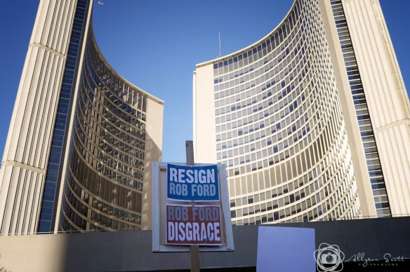 Picket signs at Toronto City Hall