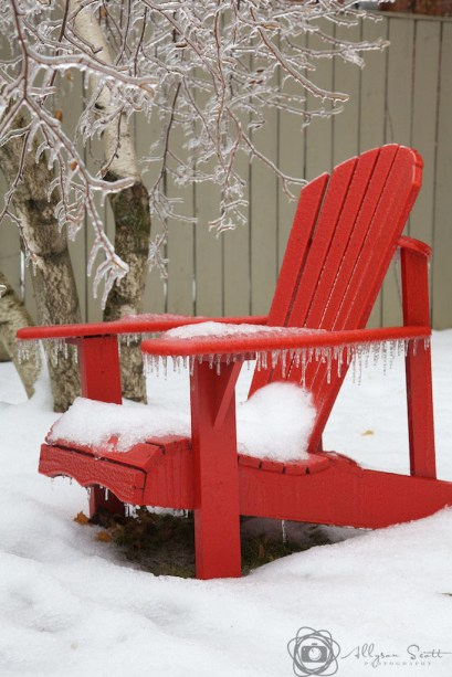 Muskoka chair coated in ice