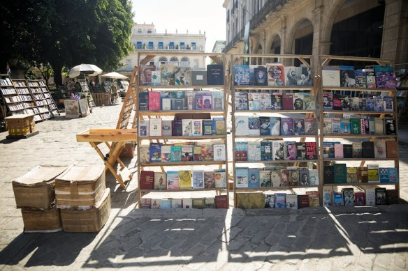 Book stalls in Plaza de Armas, Havana