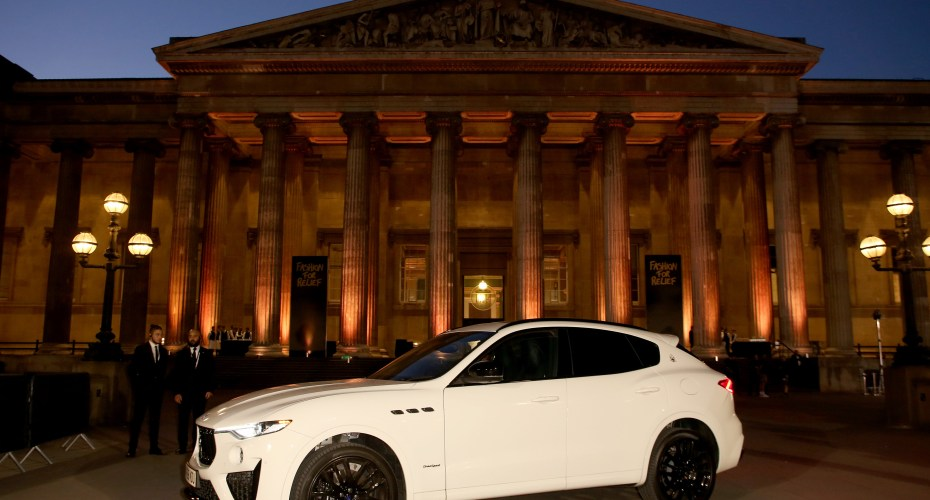 LONDON, ENGLAND - SEPTEMBER 14: Maserati Chauffeurs VIPs to Fashion For Relief at The British Museum on September 14, 2019 in London, England. (Photo by David M. Benett/Dave Benett/Getty Images for Maserati GB)