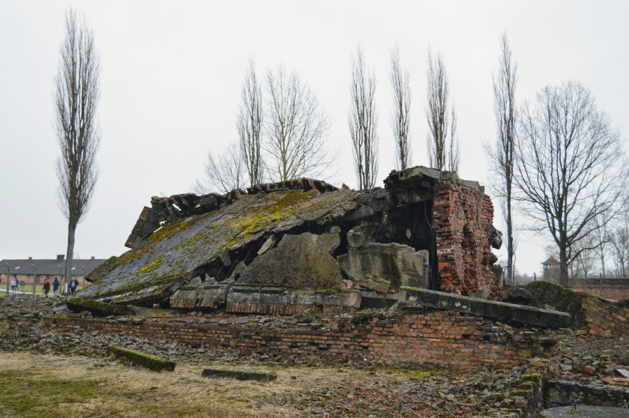 The burned-out remains of one of the larger crematoriums