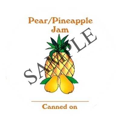 Pear Pineapple Jam Round Canning Label #L298