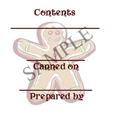 Gingerbread Man Round Canning Label #L299