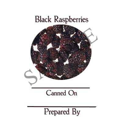 Black Raspberries Round Canning Label #L348