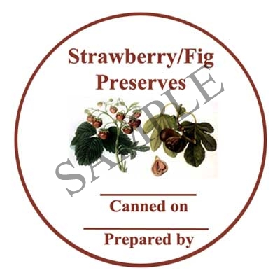 Strawberry and Fig Preserves Round Canning Label #L350