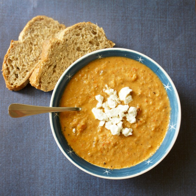 Roasted Red Pepper Cauliflower Soup