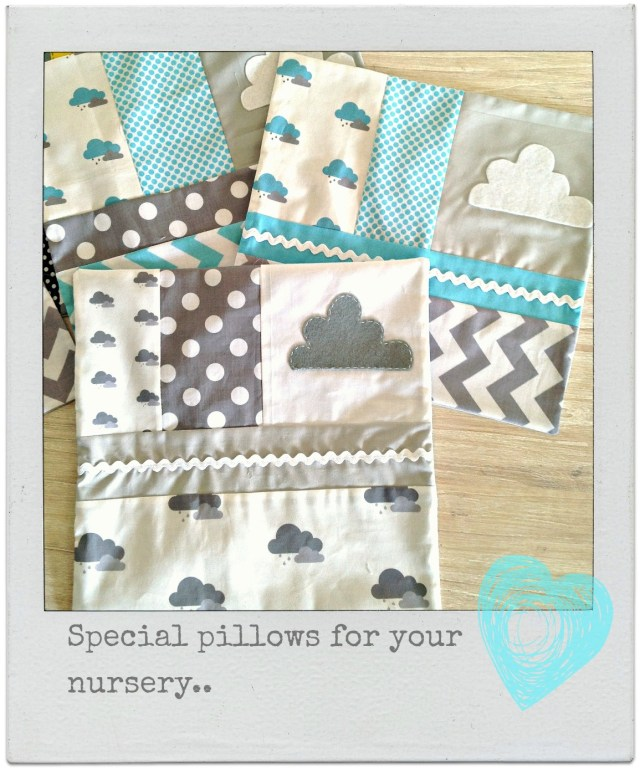Cloud nursery cushions by alphabet monkey