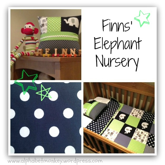 green and navy elephant quilt by alphabet monkey